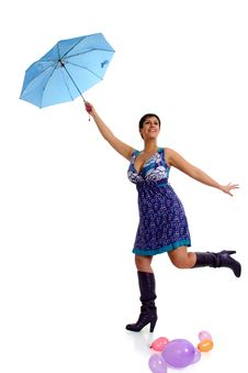Free Woman Flying With Umbrella Stock Photo - 8756670