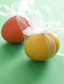 Colorful Easter Eggs With Ribbon Royalty Free Stock Image