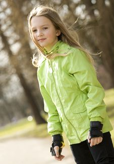 Free Happy Little Girl On Roller-skates Royalty Free Stock Photos - 8757448