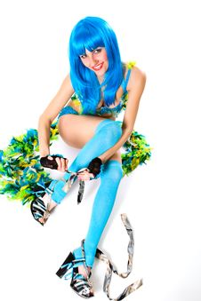 Free Blue Dress And Wig Stock Photography - 8757882