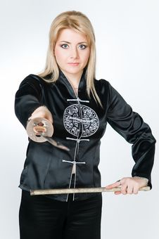 Free Woman In Japanese Shirt Holding Sword Royalty Free Stock Photos - 8758018
