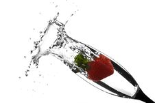 Free Red Strawberry Splash In Water White Background Stock Photos - 8759483