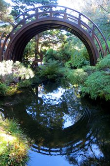 Free Japanese Arched Bridge With Reflection Stock Photography - 87586262