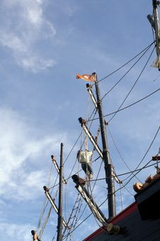 Free Seaman Climbs The Ship S Mast Stock Images - 8760114