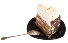 Free Piece Of Cake And Spoon On Black Plate Royalty Free Stock Photos - 8761068
