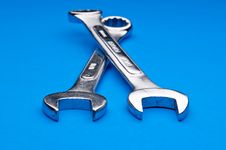 A Pair Of Old Worn Combination Wrenches Royalty Free Stock Images