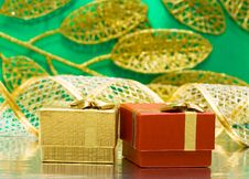 Free Golden And Red Gift Boxes Royalty Free Stock Photos - 8762558