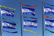 Pier 39 - Fisherman S Wharf Flags Royalty Free Stock Photos
