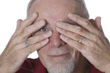Free Senior Man Peeking Through Fingers Stock Photography - 8763412