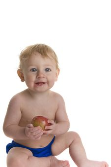 Free Happy Baby Holds Apple Stock Photos - 8764053