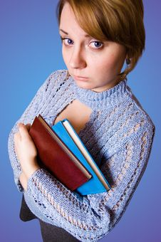 Free Young Naive Girl Holding A Books Royalty Free Stock Photography - 8764227