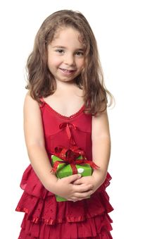 Free Pretty Girl Holding A Present Stock Image - 8764611