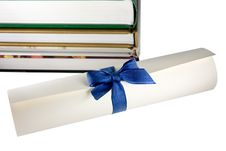 Free Certificate Scroll And Books Stock Photos - 8764613