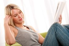 Free Student Series - Blond Young Woman Reading Book Royalty Free Stock Image - 8765966