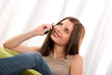 Free Student Series - Young Brunette With Mobile Phone Stock Photography - 8766022
