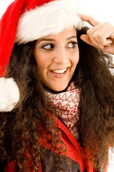 Free Latin American Model Wearing Christmas Hat Stock Photography - 8766252