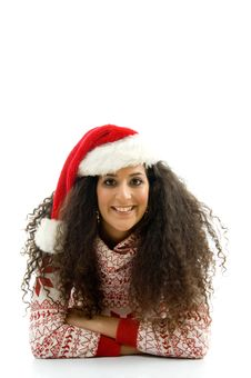 Free Hispanic Female With Christmas Hat And Lying Stock Images - 8766314