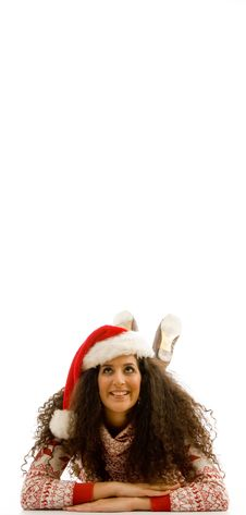 Model Wearing Christmas Hat And Looking At Camera Royalty Free Stock Images