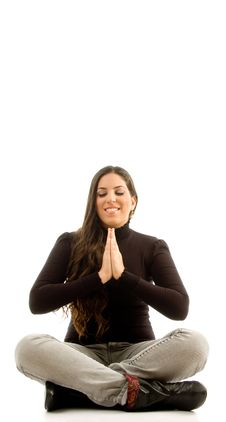 Free Young Beautiful Female Sitting With Praying Hands Stock Photography - 8766582