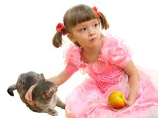 Free Girl And A Cat Stock Images - 8766664
