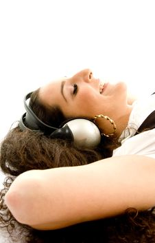 Free Pretty Woman Wearing Headphones Stock Photo - 8767390