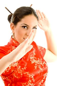Pretty Young Woman In Kimono Ready To Fight Royalty Free Stock Photos