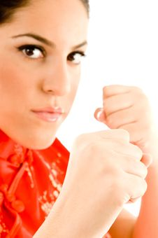 Free Beautiful Woman Ready To Box Royalty Free Stock Images - 8767479