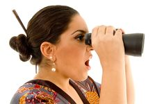 Beautiful Woman Looking Through Binoculars Royalty Free Stock Images