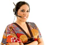 Free Young Female Wearing Kimono With Headset Stock Photos - 8767833
