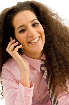 Free Pretty Female Smiling And Talking On Phone Royalty Free Stock Photos - 8768438