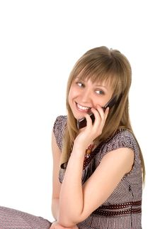 Free Woman Listens On A Mobile Phone Royalty Free Stock Photography - 8768667