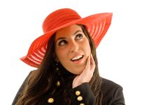 Free Close Up Of Smiling Female Wearing Hat Royalty Free Stock Photography - 8768797