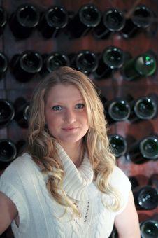 Free Blond Teen Wine Rack Stock Photography - 8769082