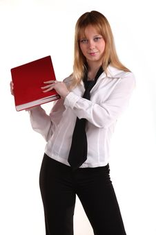 Free Woman In A Necktie With A Red Book Stock Image - 8769381