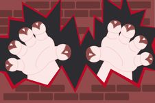 Free Monster Hands Coming Out Of A Wall Stock Images - 8769834