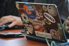 Free Person Using Black Laptop Computer Stock Image - 87659331
