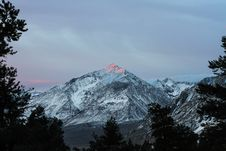 Free Sunrise Reflecting On Snow Capped Mountain Stock Images - 87661324