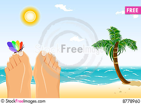Free Summer Holidays Sunbathing On A Tropical Beach Stock Photo - 8778960