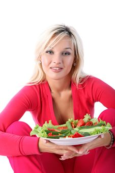 Girl With Salad Stock Photos