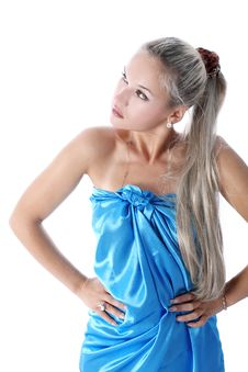 Free Lovely Woman In Blue Fabric Stock Images - 8773894