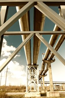 Free Steel Pipe-line Is Photographed On Sky Background Stock Photography - 8774082