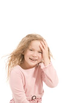 Free Happy Girl Over White. Stock Image - 8774171