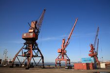 Free Harbor With Three Crane Stock Photos - 8775643