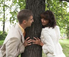 The Walk Of Newlyweds Royalty Free Stock Photo