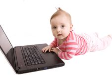 Free Baby With Laptop Stock Photos - 8777233