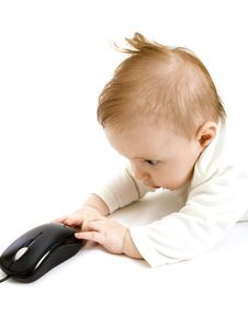 Free Baby With Computer Mouse Stock Images - 8777254