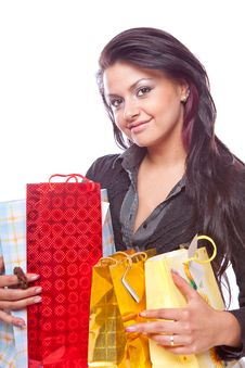Free Beauty Girl With Bag Stock Photo - 8779680