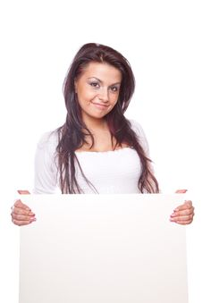 Free Beautiful Woman With White Board Stock Photos - 8779843