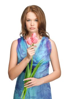 Beautiful Girl With Tulips Royalty Free Stock Images