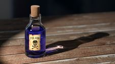 Free Purple Liquid Poison On Brown Wooden Surface Royalty Free Stock Images - 87719729